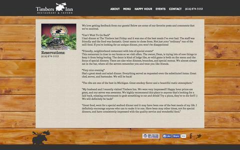 Screenshot of About Page timbersinn.net - Timbers Inn Restaurant & Tavern | Rockford, Michigan - captured Oct. 7, 2014