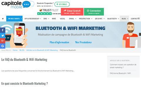 Screenshot of FAQ Page capitolemobile.com - FAQ du Bluetooth & WiFi Marketing - captured Oct. 18, 2018
