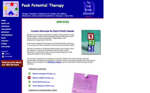 Screenshot of Services Page peakpotentialtherapy.com - Peak Potential Therapy|Comprehensive Therapy Service List - captured Oct. 2, 2014