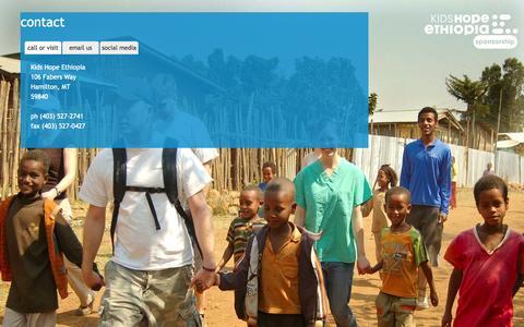 Screenshot of Contact Page kidshopeethiopia.com - contact | kids hope ethiopia - captured Sept. 30, 2014