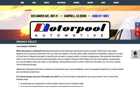 Screenshot of Privacy Page motorpoolauto.com - Privacy Policy - captured July 7, 2018