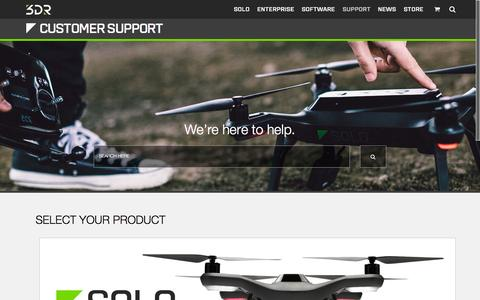 Screenshot of Support Page 3drobotics.com - Support - captured Oct. 1, 2015