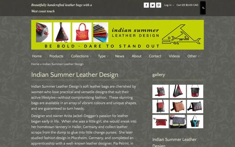 Screenshot of About Page indiansummerleather.com - Bags And Purses | Ladies Bags | Soft Leather Bags, Indian Summer Leather Design - captured Oct. 30, 2014