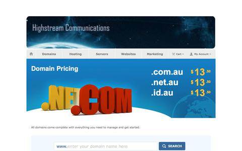 Screenshot of Pricing Page secureapi.com.au - Highstream Communications Domain Names and Web Hosting - captured July 20, 2018
