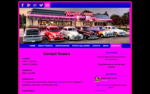 Screenshot of Contact Page rosiesdiner.com - Contact Us | Rosie's Diner | Aurora, Colorado - captured May 20, 2016