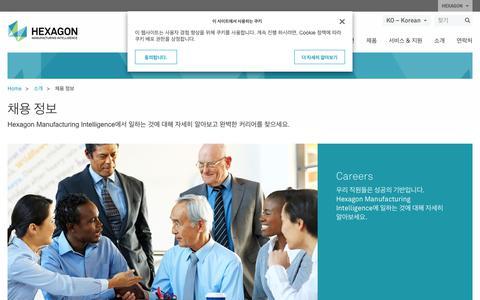 Screenshot of Jobs Page hexagonmi.com - 채용 정보 | Hexagon Manufacturing Intelligence - captured Nov. 25, 2017