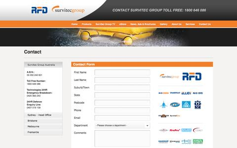 Screenshot of Contact Page rfd.com.au - Survitec Group Australia - Contact - captured Oct. 7, 2014
