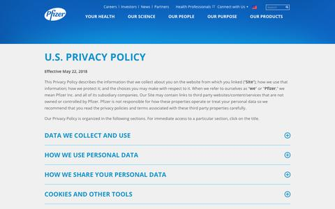 Screenshot of Privacy Page pfizer.com - U.S. Privacy Policy | Pfizer: One of the world's premier biopharmaceutical companies - captured May 24, 2018