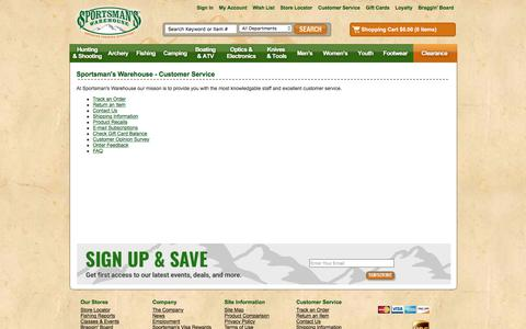 Screenshot of Support Page sportsmanswarehouse.com - Customer Service | Sportsman's Warehouse - captured Feb. 1, 2018