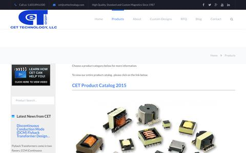 Screenshot of Products Page cettechnology.com - Products - CET Technology - captured July 14, 2018