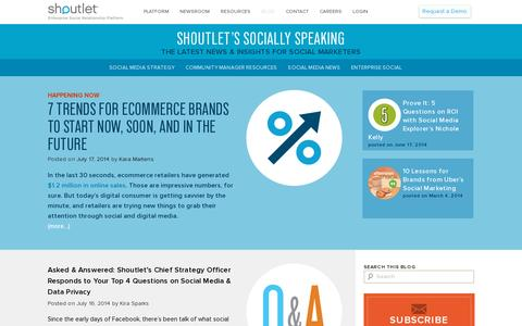 Screenshot of Blog shoutlet.com - Shoutlet Blog | Enterprise Social Relationship Platform - captured July 18, 2014