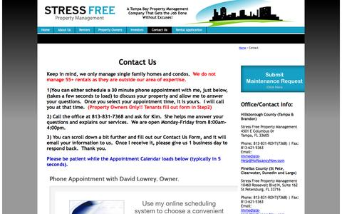 Screenshot of Contact Page stressfreepropertymanagement.com - Contact Us : Property Management Tampa : Largo FL : NoVacancyNow.com</ - captured Oct. 7, 2014