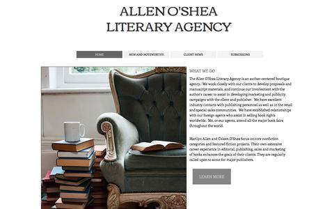 Screenshot of Home Page allenoshea.com - Allen O'Shea Literary Agency - captured Oct. 8, 2017