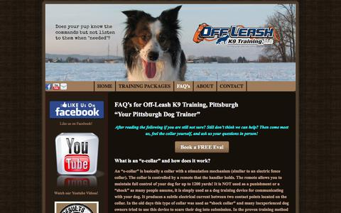 Screenshot of FAQ Page pittsburghdogtrainers.com - FAQ's | Pittsburgh Dog Trainer - captured Nov. 3, 2014