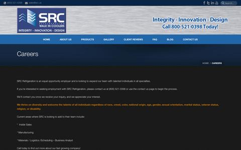 Screenshot of Jobs Page srcrefrigeration.com - Careers - captured Sept. 30, 2014