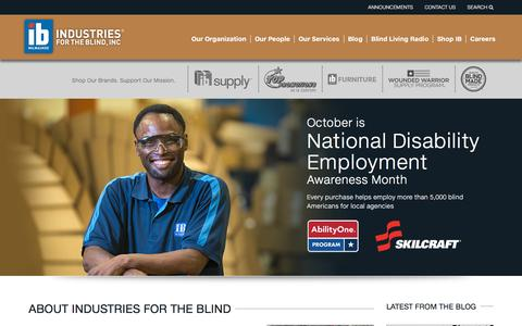Screenshot of Home Page ibmilw.com - IB Milwaukee - Industries for the Blind - captured Oct. 22, 2015