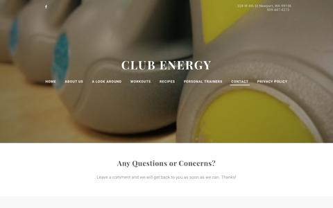 Screenshot of Contact Page club-energy.com - CONTACT - Club Energy - captured March 11, 2016