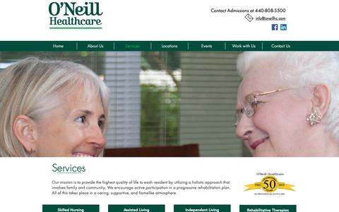 Screenshot of Services Page oneillhc.com - Services | Ohio | O'Neill Healthcare - captured Oct. 18, 2018