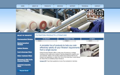 Screenshot of Products Page criticalprocess.com - Process Filtration Products   Critical Process Filtration Inc. - captured Oct. 3, 2014