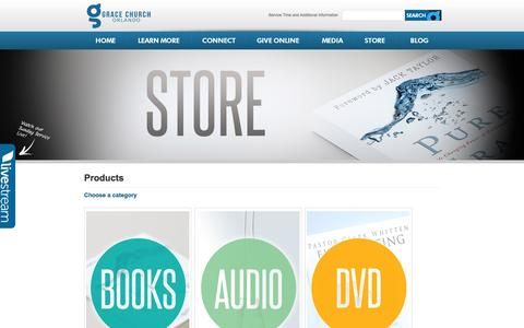 Screenshot of Products Page graceorlando.com - Products | Grace Church Orlando - captured Oct. 3, 2014