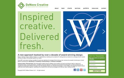 Screenshot of Home Page denovocreative.com - DeNovo Creative | Defining Marketing Communications - captured Sept. 30, 2014
