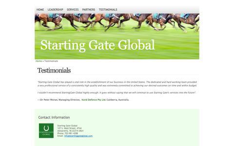 Screenshot of Testimonials Page startinggateglobal.com - Starting Gate Global Client Testimonials   Starting Gate Global - captured Sept. 26, 2014