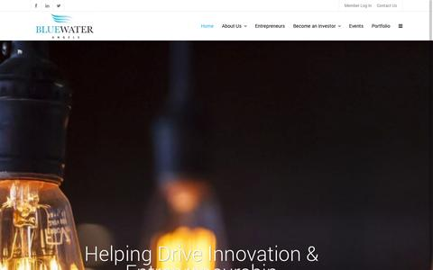 Screenshot of Home Page bluewaterangels.com - BlueWater Angels | Helping Drive Innovation & Entrepreneurship - captured Sept. 30, 2014