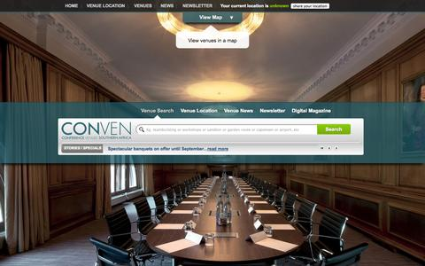 Screenshot of Home Page conven.co.za - Conference Venues | Team Building | Functions | Events - CONVEN - captured Sept. 25, 2014