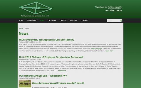 Screenshot of Press Page truecos.com - News   True companies - captured Oct. 25, 2014