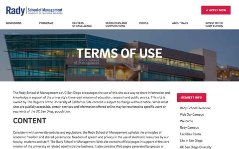 Screenshot of Terms Page ucsd.edu - Terms of Use - captured July 2, 2017