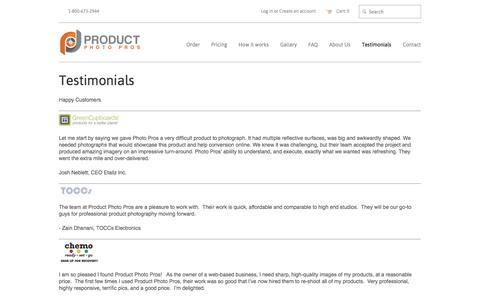 Screenshot of Testimonials Page productphotopros.com - Testimonials – Product Photo Pros - captured Oct. 28, 2014