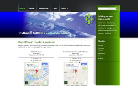 Screenshot of Locations Page maxwellstewart.com - Maxwell Stewart - London & Manchester - captured Oct. 27, 2014