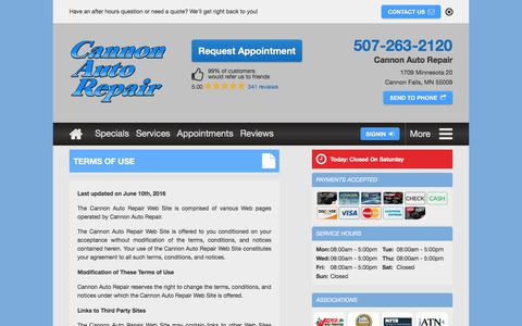 Screenshot of Terms Page cannonautorepair.com - Terms of Use | Cannon Auto Repair - captured July 15, 2018