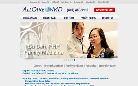 Screenshot of Jobs Page allcareofmd.com - Careers | Internal Medicine | Family Medicine | Pediatrics | General Practice - captured Oct. 8, 2017