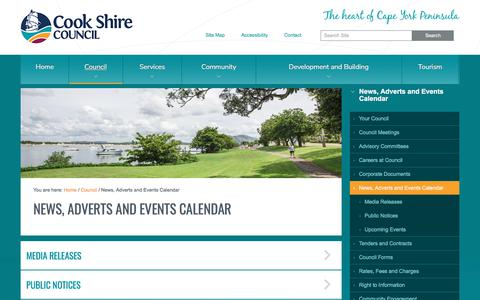 Screenshot of Press Page cook.qld.gov.au - News, Adverts and Events Calendar — Cook Shire Council - captured Aug. 27, 2017
