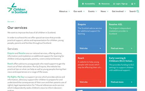 Screenshot of Services Page childreninscotland.org.uk - Children in Scotland - captured July 17, 2018