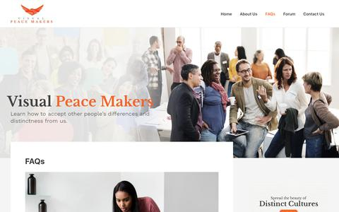 Screenshot of FAQ Page visualpeacemakers.org - FAQs – The Visual Peace Makers - captured Oct. 12, 2018