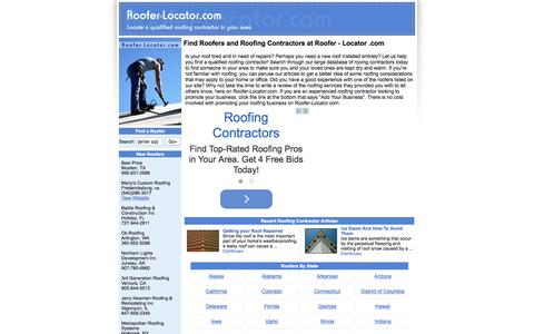 Screenshot of Home Page roofer-locator.com - Find Roofers and Roofing Contractors at Roofer - Locator .com - captured Sept. 8, 2015