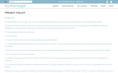 Screenshot of Privacy Page iluminagebeauty.com - Privacy Policy | iluminage Anti-aging & Hair Removal Systems - captured Oct. 16, 2017