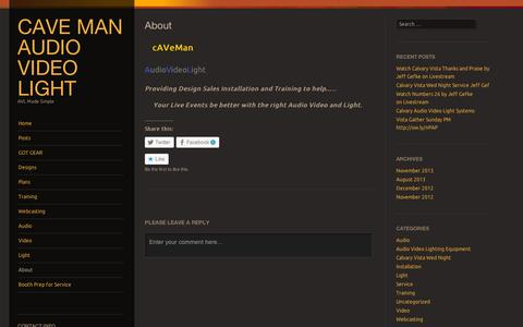 Screenshot of About Page wordpress.com - About   cAVe Man Audio Video Light - captured Sept. 12, 2014