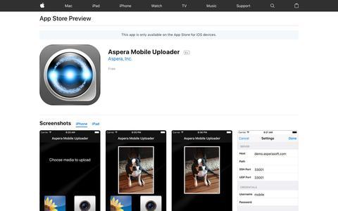 Aspera Mobile Uploader on the AppStore