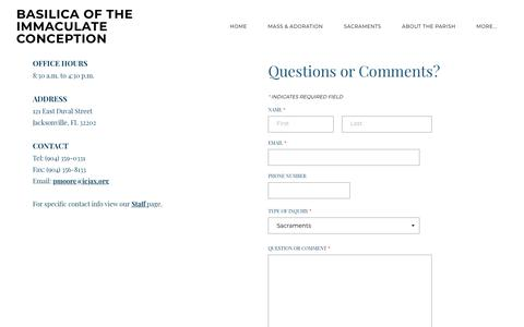 Screenshot of Contact Page icjax.org - Contact - BASILICA OF THE IMMACULATE CONCEPTION - captured April 27, 2018
