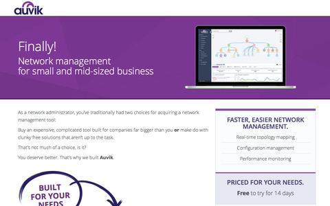Screenshot of Landing Page auvik.com - Network management for small & mid-sized business - Auvik - Auvik Networks - captured April 27, 2017