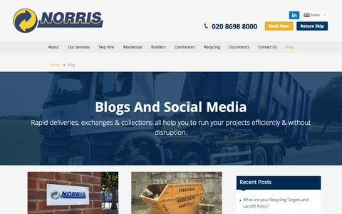 Screenshot of Blog norriskips.co.uk - Blog & Social | Norris Waste Management - captured Oct. 18, 2018