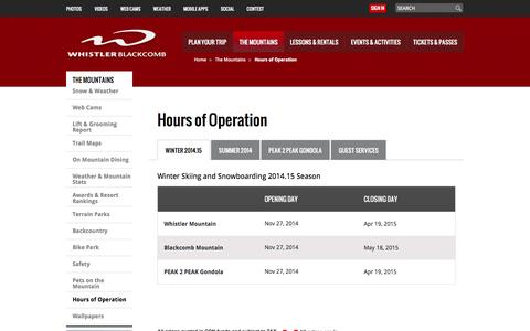Screenshot of Hours Page whistlerblackcomb.com - Whistler Blackcomb - Hours of Operation - Whistler, BC, Canada - captured Sept. 24, 2014
