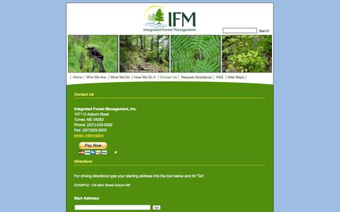 Screenshot of Contact Page ifmgt.com - Integrated Forest Management; forest management, consulting forester, turner, maine   » Contact Us - captured Oct. 6, 2014