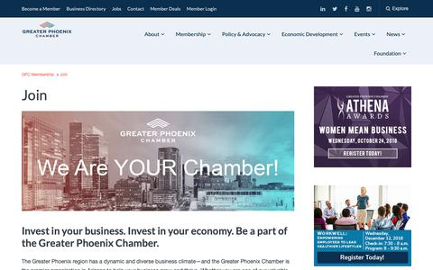 Screenshot of Signup Page phoenixchamber.com - Join - Greater Phoenix Chamber - captured Sept. 29, 2018