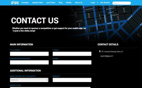 Screenshot of Contact Page gigg.com - gigg.com -- Say it with music! - captured Nov. 4, 2014