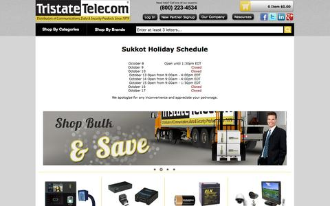 Screenshot of Home Page tristatetelecom.com - Business Phone Systems, Business Phone Equipment, Phone Systems, Security Surveillance Systems, Digital Video Recorders, DVR, Communication Products and Solutions - captured Oct. 8, 2014