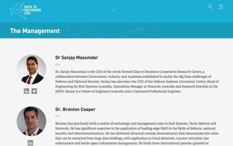 Screenshot of Team Page d2dcrc.com.au - The Management - captured Nov. 3, 2014